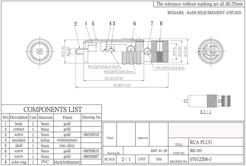 Schema Collegamento Xlr Rca : Rc connettore rca gold senza saldatura connettori